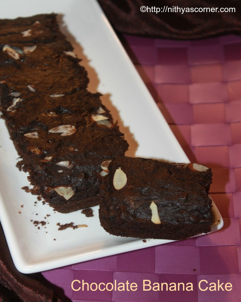 Chocolate banana cake recipe with wheat flour
