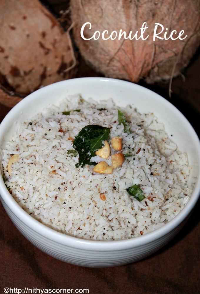 Coconut rice recipe, Thengai sadam recipe