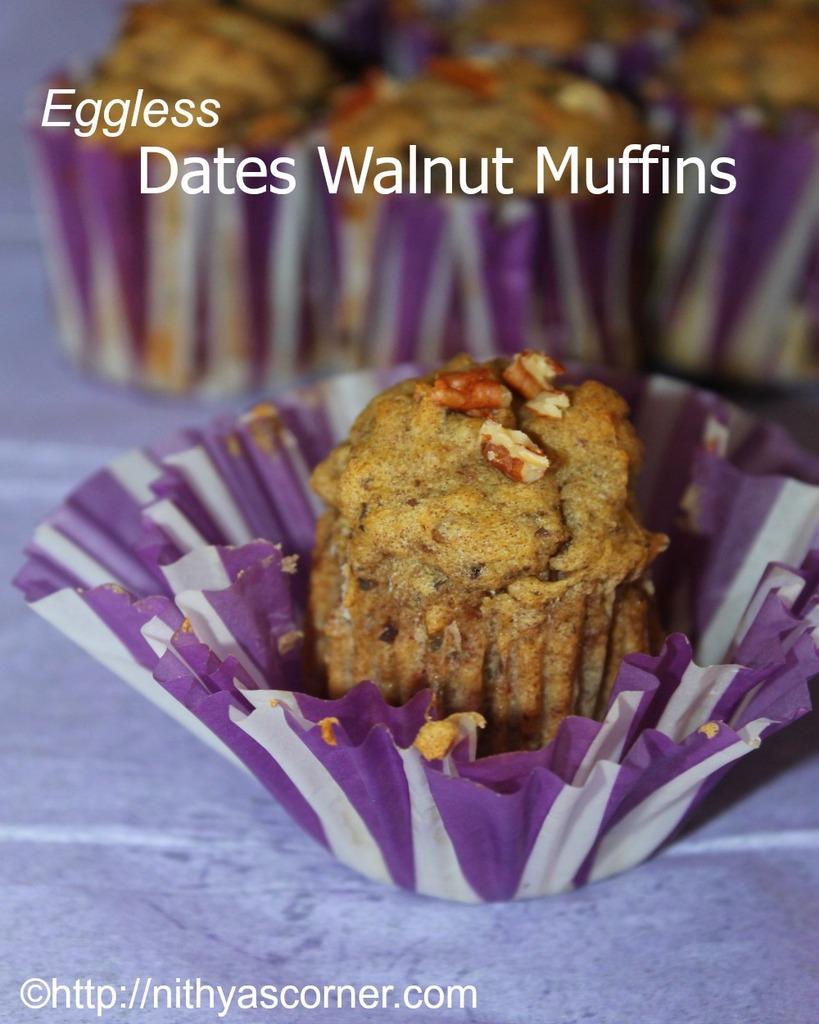 eggless dates walnut muffins cake