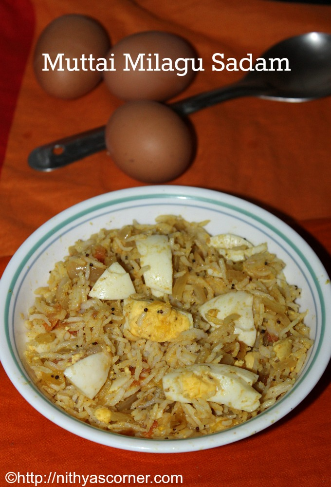 Egg pepper rice recipe, Muttai milagu sadam