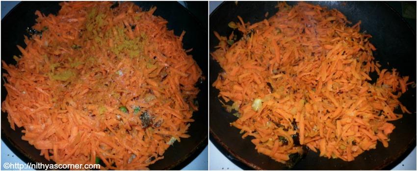 Grated carrot poriyal recipe