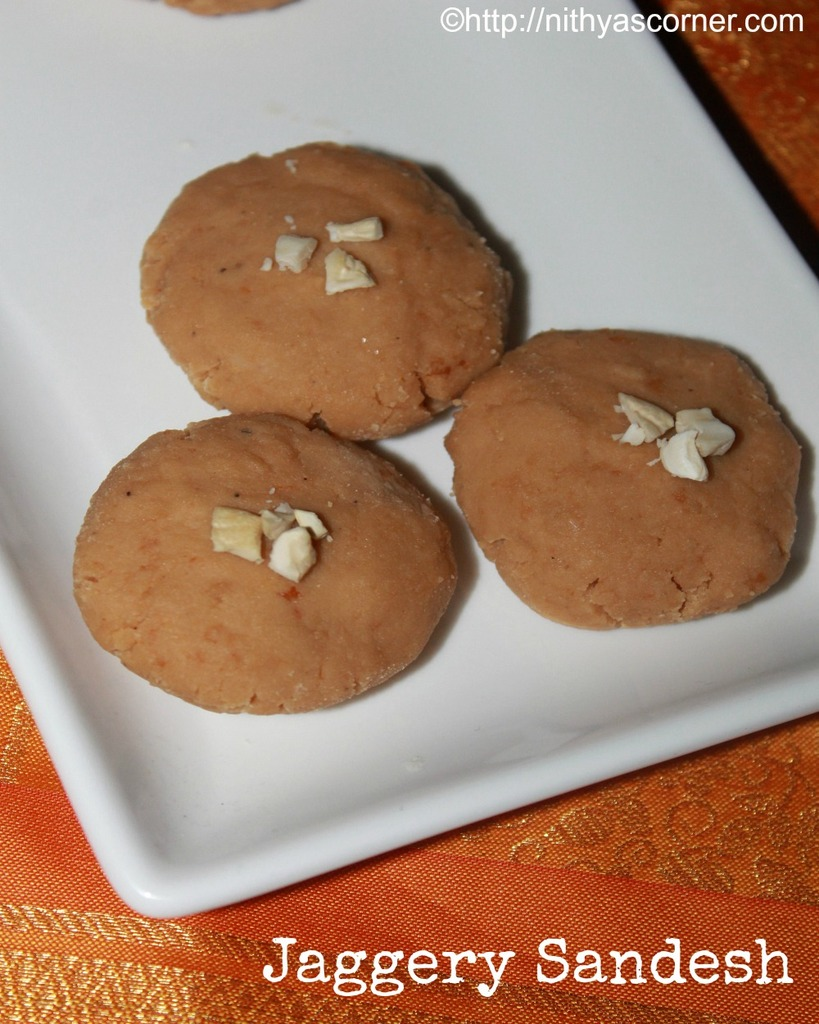 Gurer sandesh recipe, jaggery sandesh, date palm jaggery sandesh