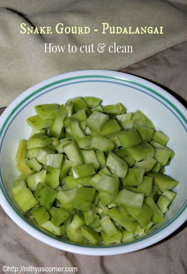 Steps to Cut Snake Gourd/Pudalangai