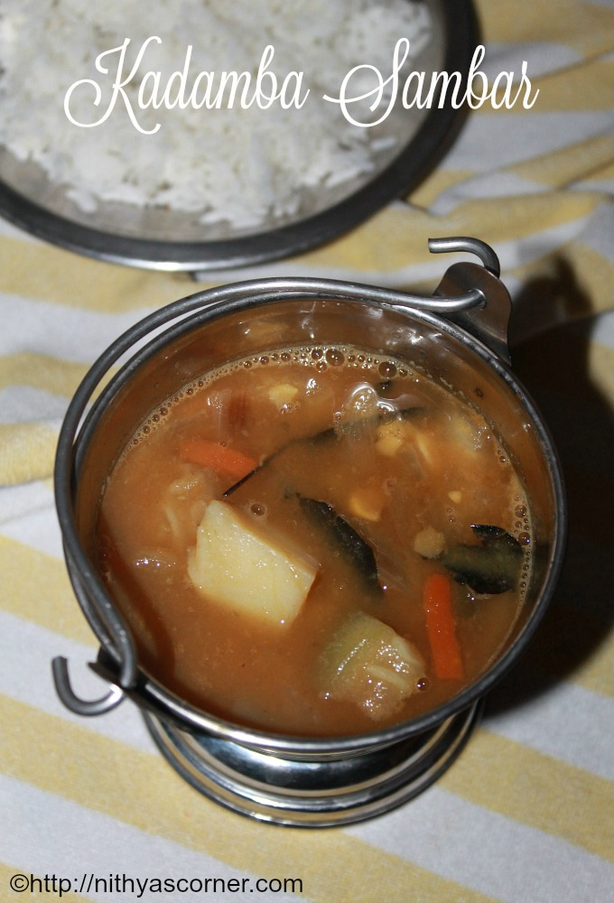 Kadamba Sambar Recipe, Mixed Vegetable Sambar Recipe