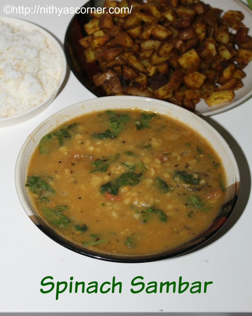 how to make spinach sambar recipe