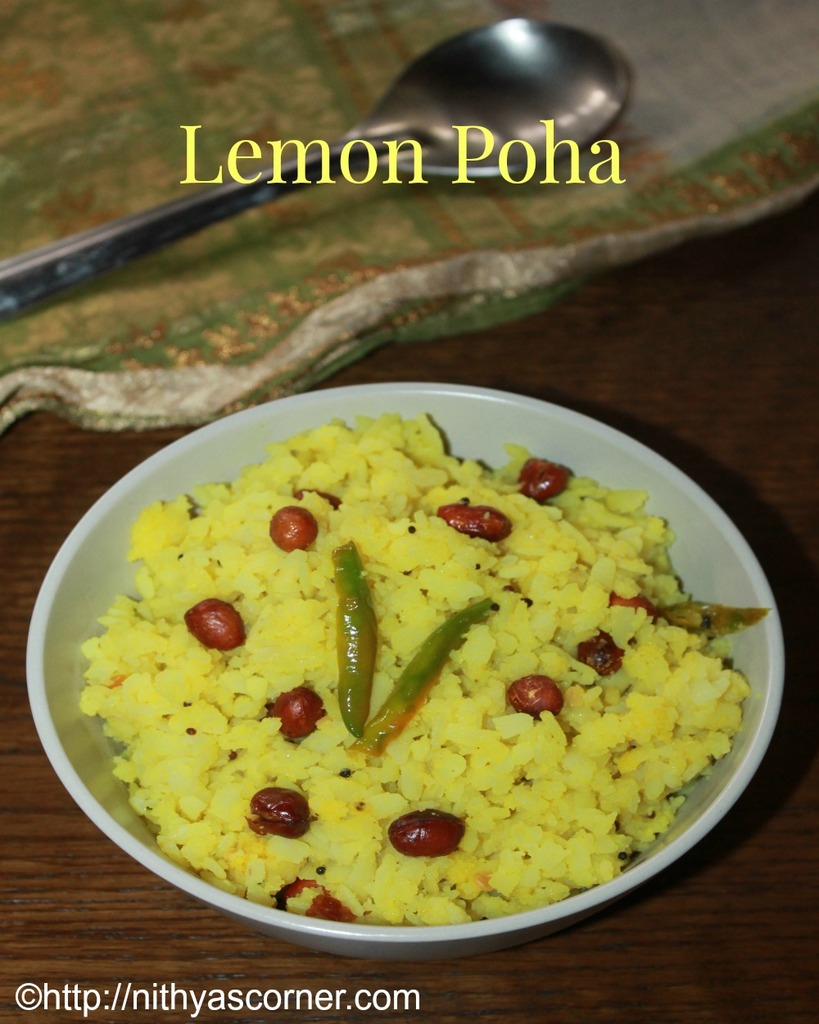 Lemon aval upma recipe, lemon poha recipe