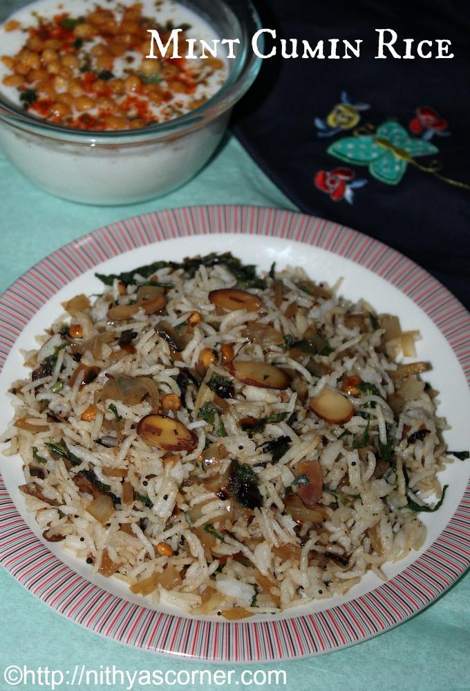 Mint cumin rice recipe, Pudina jeera sadam, Jeera pudhina chawal