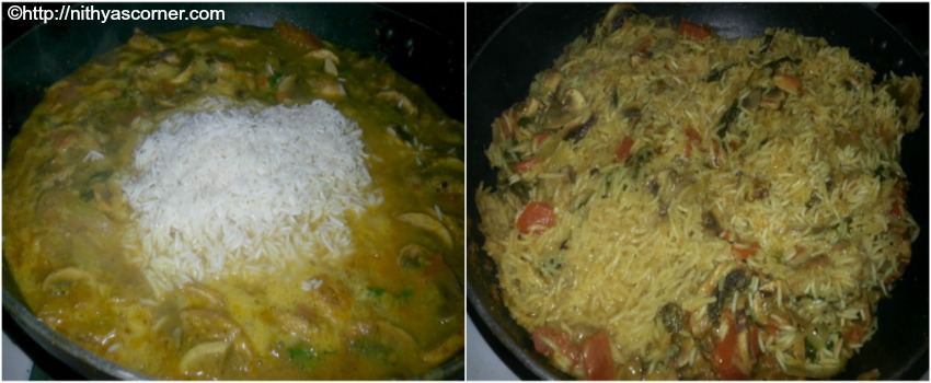 mushroom biryani with stepwise pictures
