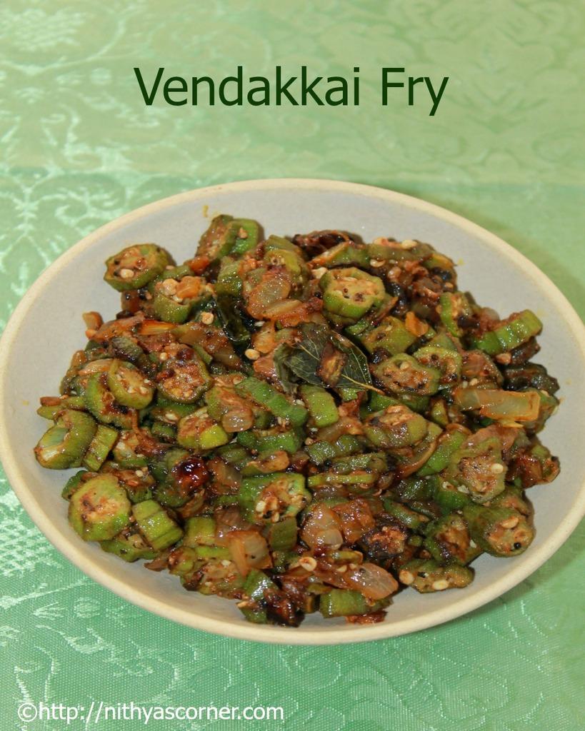 Okra fry recipe, bhindi fry recipe, vendaikkai poriyal recipe