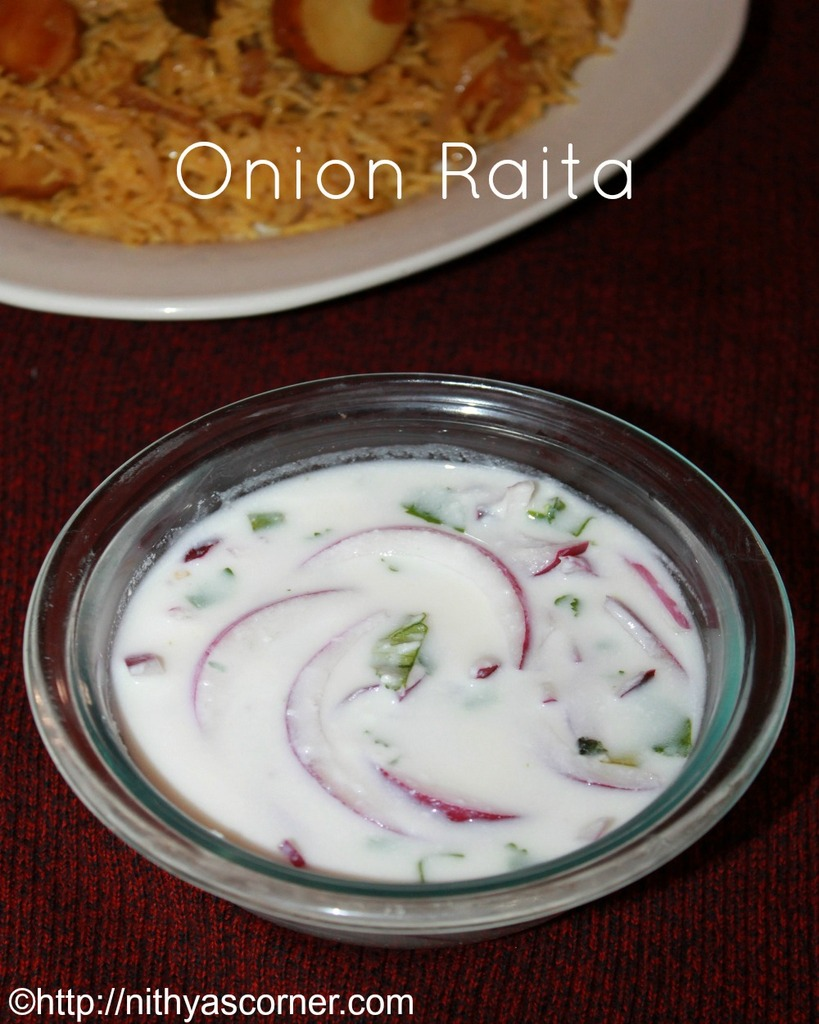Onion raita recipe, pyaaz ka raita recipe, side dish for biryani, pulao