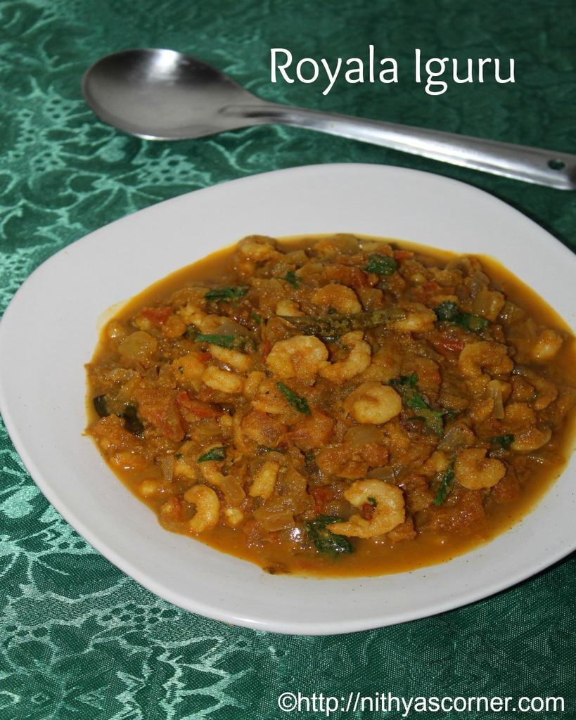Chettinadu prawn iguru, royala iguru recipe