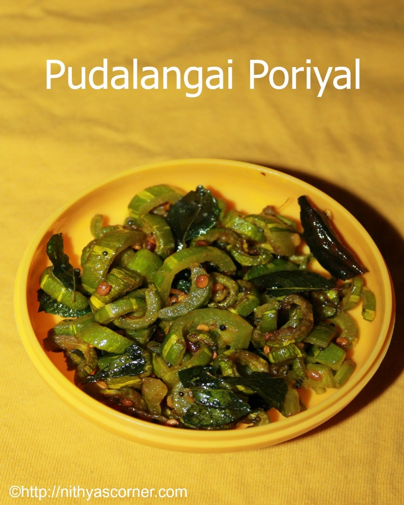 Pudalangai poriyal recipe, snake gourd stir fry recipe