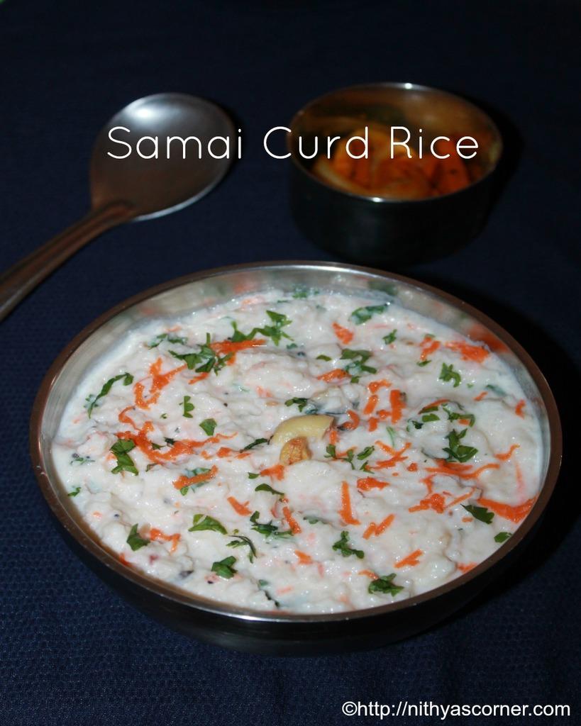 Samai thayir sadam recipe, little millet curd rice recipe