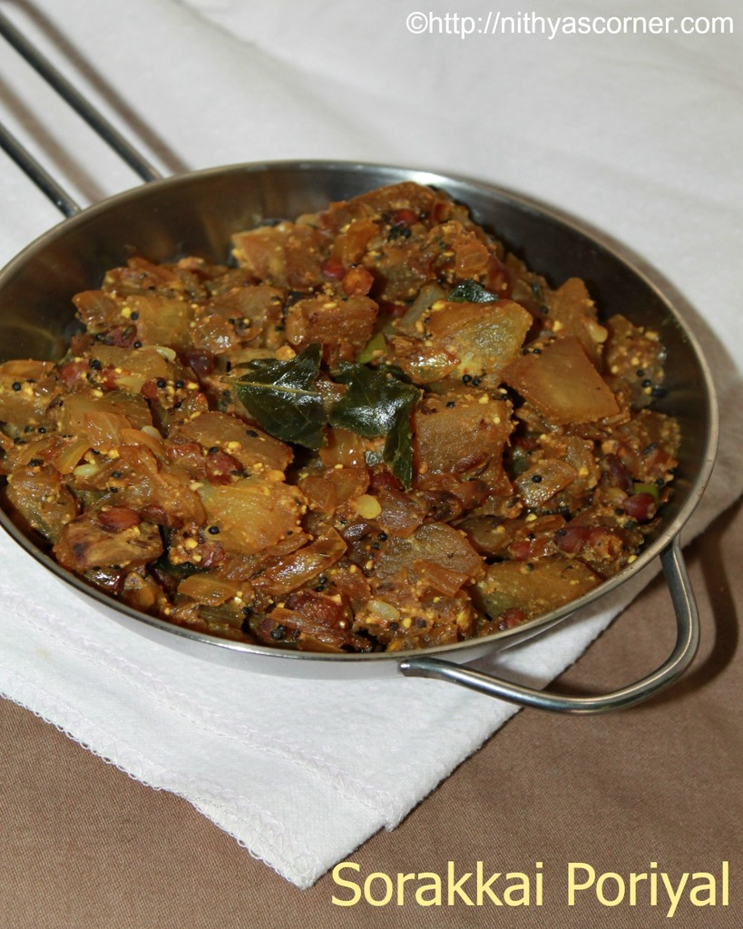 Sorakkai poriyal recipe, bottle gourd stir fry, suraikkai curry