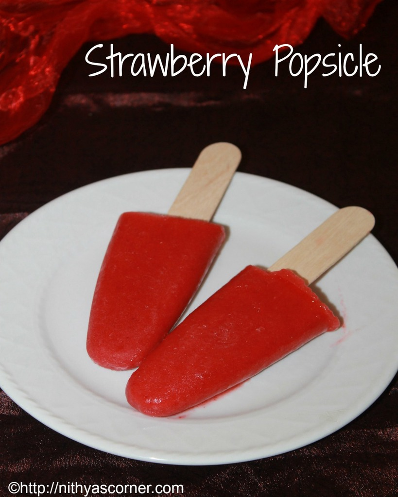 Strawberry popsicle recipe, homemade strawberry popsicle recipe