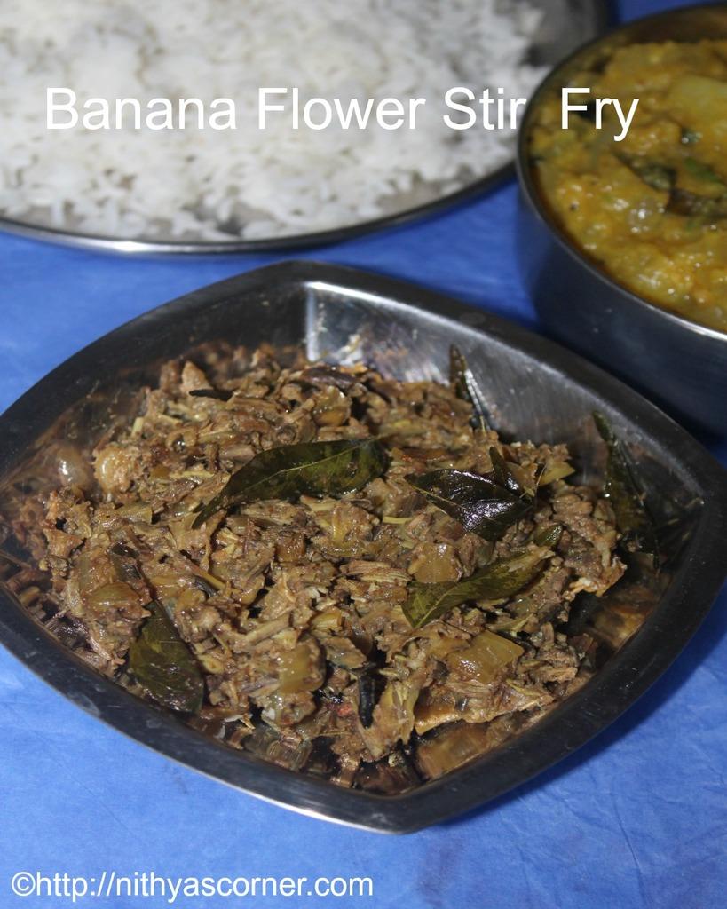 vazhaipoo poriyal recipe ,banana blossom stir fry