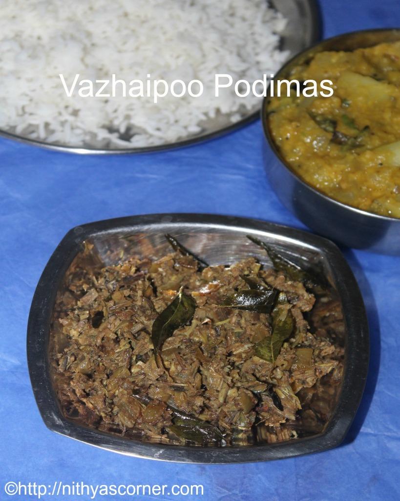 vazhaipoo podimas,banana flower recipes
