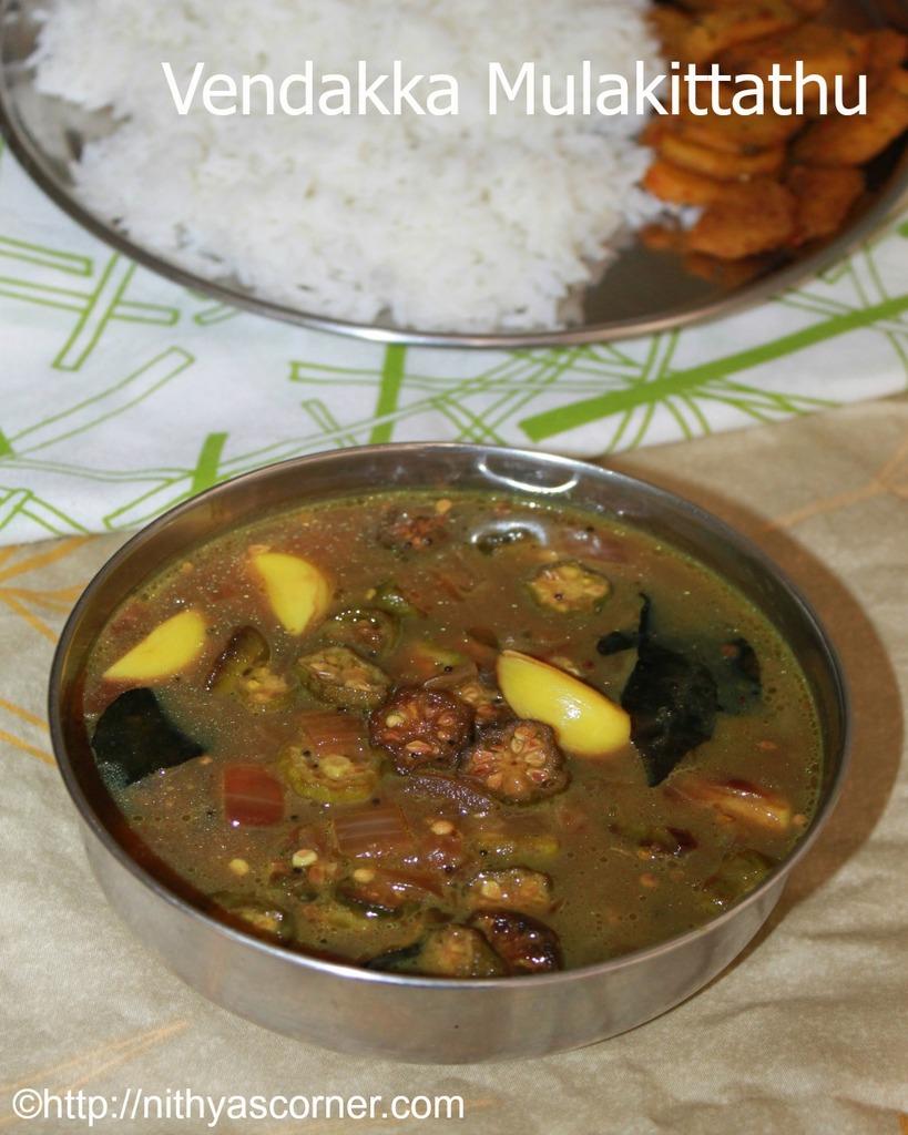 Vendakka mulakittathu recipe, vendakkai kuzhambu, okra curry