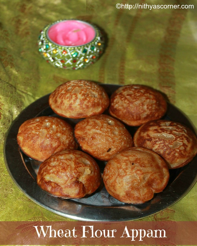 Whole wheat flour appam recipe, instant sweet appam recipe