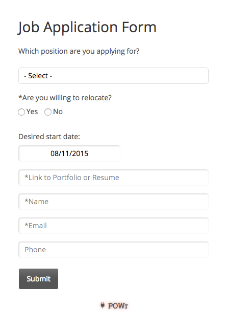 Job Application Form Widget