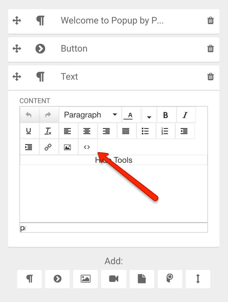 add constant contact form to popup powr paste your constant contact embed code into the box that appears and click ok
