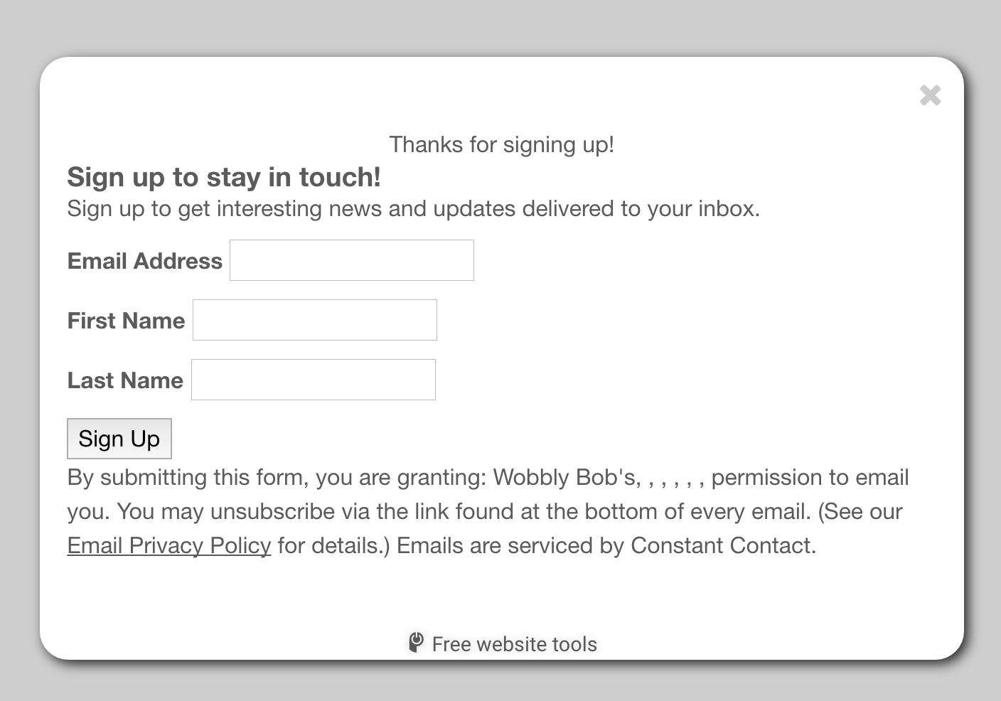 add constant contact form to popup powr 6 your form will appear inside the popup you can now add the popup to your website and start growing your email list automatically