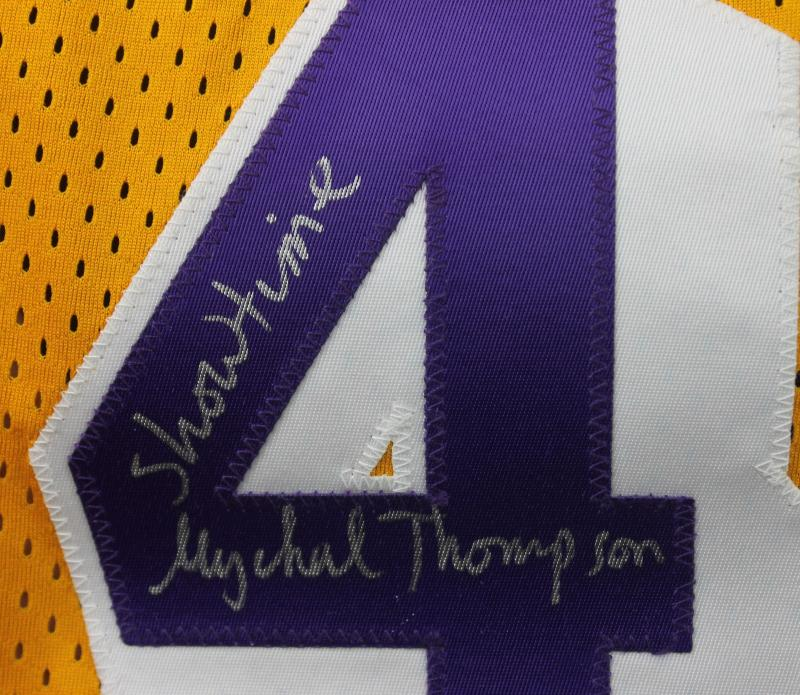 f5b49f77 Lakers Mychal Thompson 'Showtime' Authentic Signed Yellow Jersey PSA ...