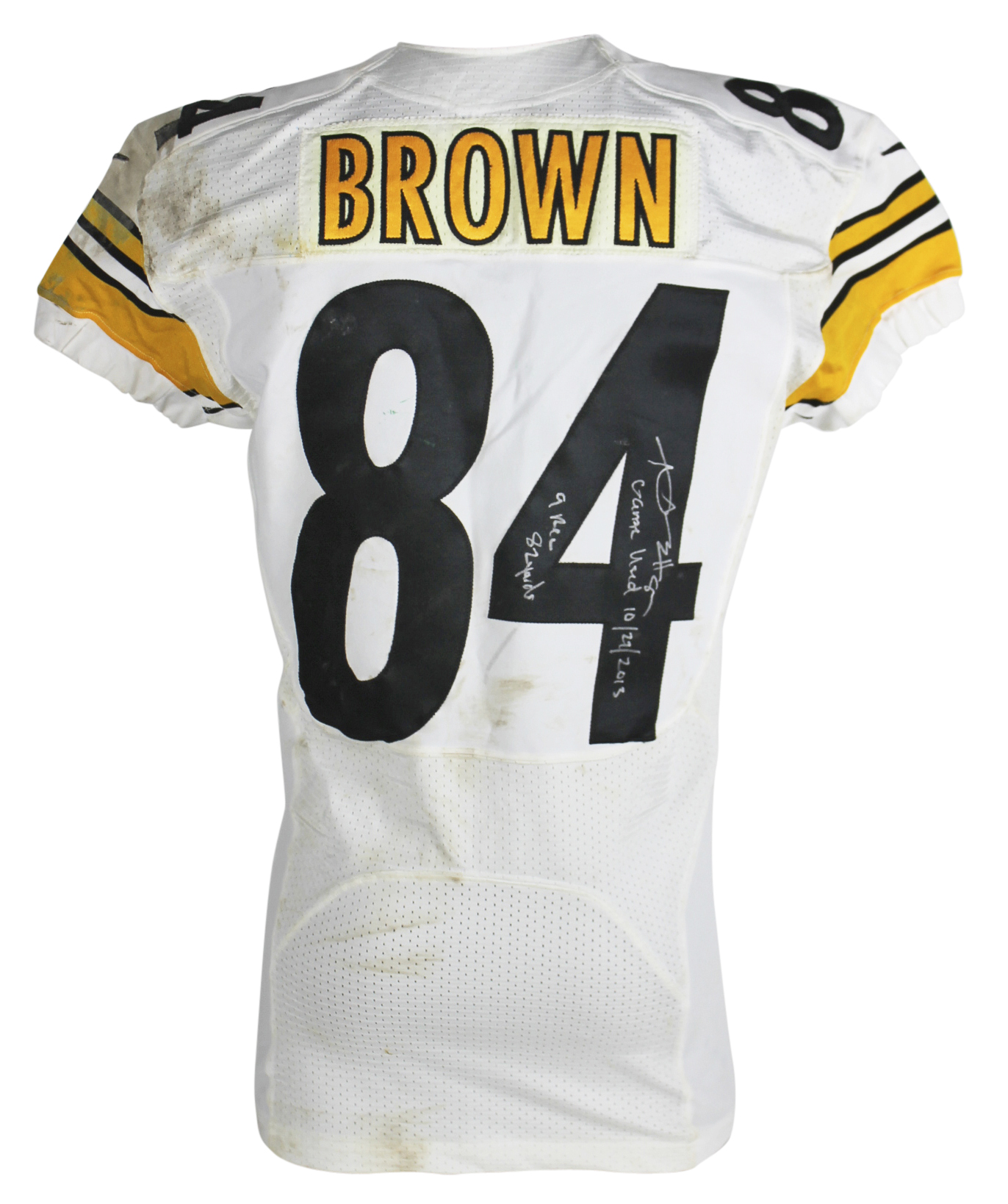 Steelers Antonio Brown Signed 10/27/2013 Game Used Nike White Home Jersey