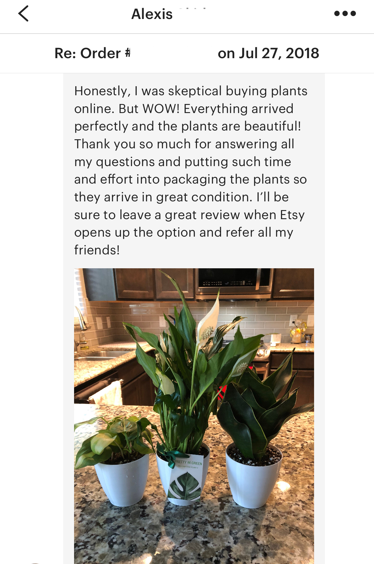 Text message review from Etsy prettyingreenplants