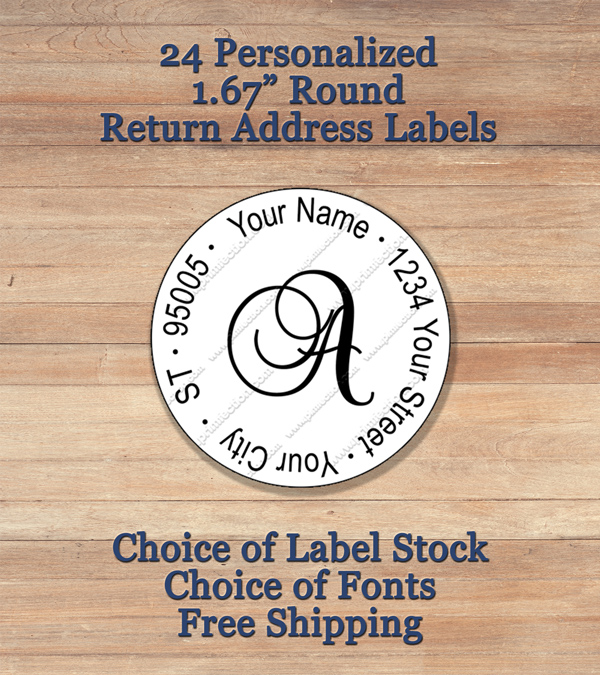 Personalized Printed Peel Stick Return Address Labels - Round return address label template