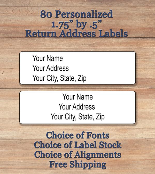 400 plain personalized self adhesive printed return address labels
