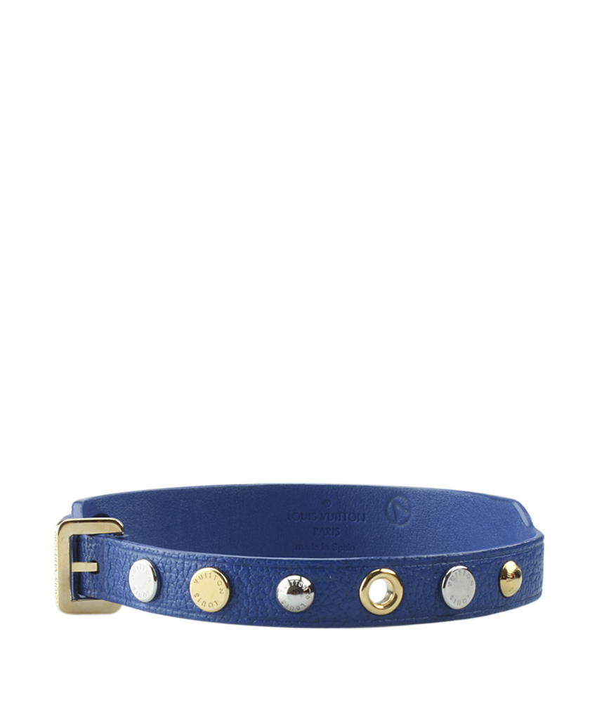 Louis Vuitton Studded Blue Leather Wrap Bracelet Ebay
