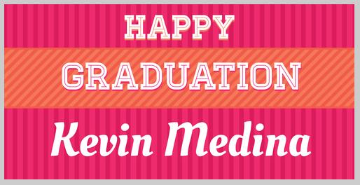 pink graduation banner design template