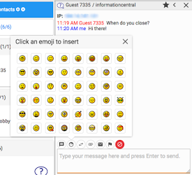 emoji picker available via the insert emoji button for a chat