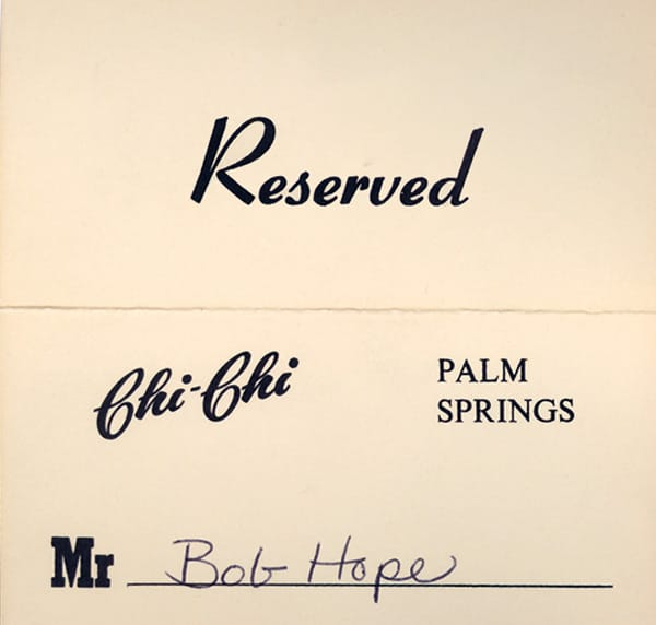 Place card for Bob Hope.