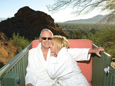 Alan Hamel and Suzanne Somers relax in the funicular that takes them from the property's parking area to the living areas.