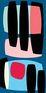 Black Pillars (1957), a 48x24-inch oil on canvas, was included in last year's Orange County Museum of Art exhibition Birth of the Cool: California Art, Design, and Culture at Midcentury.  ©Karl Benjamin. private collection, reproduced by permission