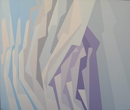 Blue Lavender, White (1959), oil on canvas, at Palm Springs Art Museum.  ©Karl Benjamin. photograph by Tom Johnson, collection of Palm Springs Art Museum: gift of Dr. and Mrs. Alan Leslie