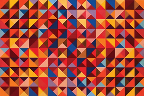 #7 (1966), a 40x60-inch oil on canvas, was included in the Oceanside Museum of Art exhibition The Vibrant Edge: Paintings of Karl Benjamin from the 1960s, '70s, and '80s.  ©Karl Benjamin. Courtesy Louis Stern Fine Arts, West Hollywood, CA