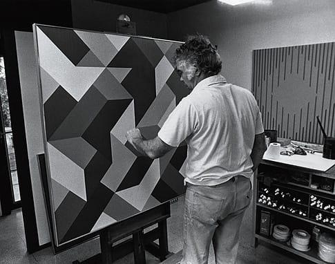 Karl Benjamin in his Claremont studio in 1978.  ©Karl Benjamin. Courtesy Louis Stern Fine Arts, West Hollywood, CA