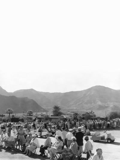 "Thunderbird's famed golf carts, ""autoettes,"" on parade."