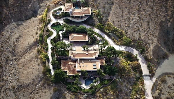 A aerial view of the home shows how set back the house is from the main road.