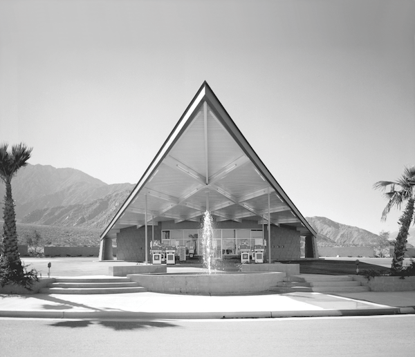 Tramway Gas Station, with its iconic 'flying wedge' canopy, at the entrance to the tramway in north Palm Springs.
