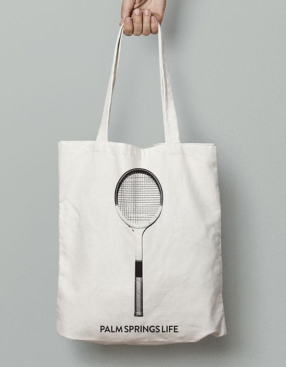 Palm Springs Life Retro Tennis Racquet Tote Bag