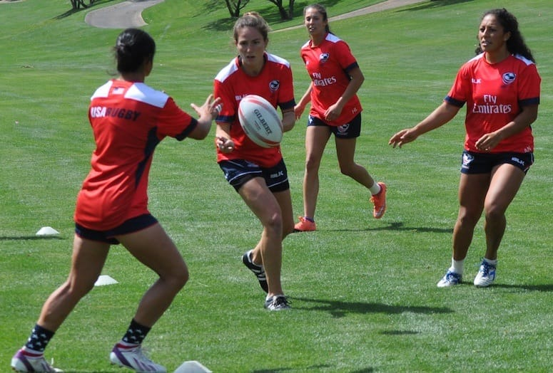 USA Womens Rugby players practice on the field