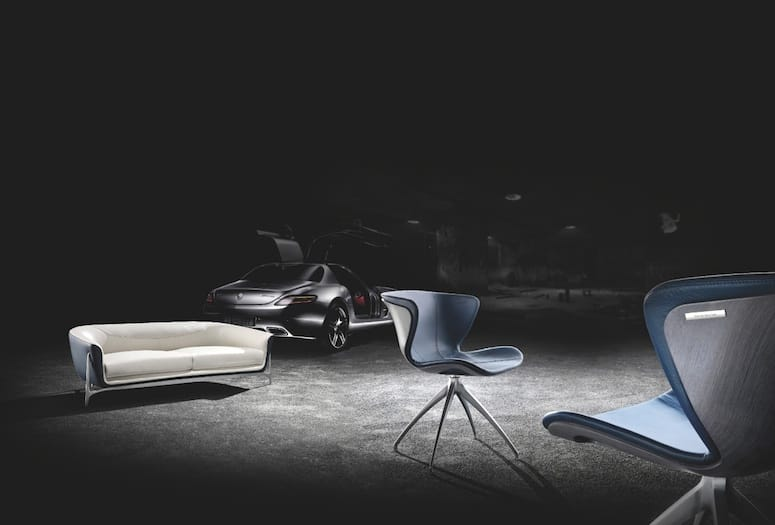 A Pair Of Blue Chairs Inspired By Luxury Cars Join The Collection At The  Rapport International Furniture Showroom.