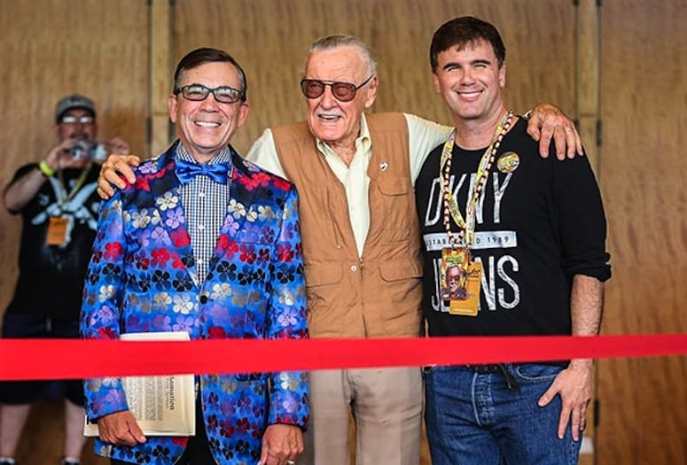 Palm Springs Mayor Rob Moon, Marvel Comics legend Stan Lee, Comic Con Palm Springs Founder Christopher Spellman.