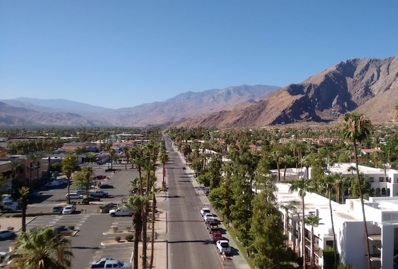 Aerial view of Palm Springs looking south from Kimpton The Rowan Palm Springs