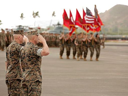 photo of marines saluting