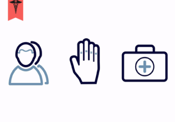 three icons person hand in stop position and medical bag with a cross
